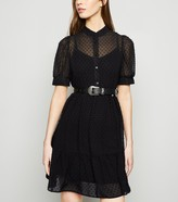 New Look Spot Mesh Collared Dress