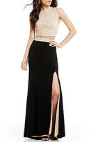 B. Darlin High Neck Illusion-Yoke Open-Back Beaded Top High-Waist Skirt Color Block Two-Piece Long Dress