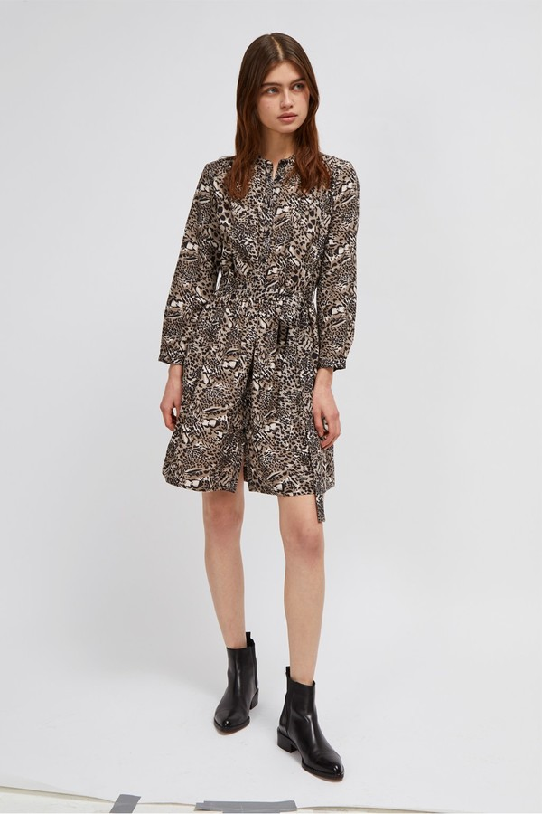 French Connection Animal Print Belted Shirt Dress