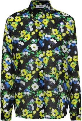 MSGM Floral-print Cloque Shirt