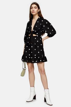 Topshop Womens Black Polka Embellished Mini Dress - Black