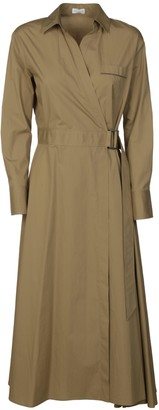 Brunello Cucinelli Belted Long Wrapped Dress