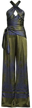 Flor Et. Al Gabriel Printed Satin Jumpsuit