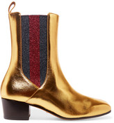 Gucci Metallic Leather And Textured-lamé Chelsea Boots - Gold
