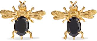 Bounkit 14-karat Gold-plated Onyx And Quartz Earrings