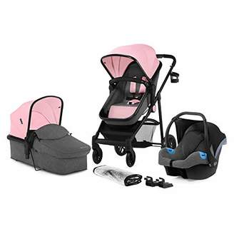Kurt Geiger Kinderkraft Pram 3 in 1 Set JULI, Travel System, Baby Pushchair, Buggy, Foldable, with Infant Car Seat, Carrycot, Accessories, Rain Cover, Footmuff, Cup Holder, from Birth to 3 Years, 0-13 Kg, Denim