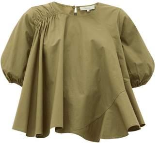 Preen Line Agnes Asymmetric Cotton-poplin Blouse - Womens - Khaki