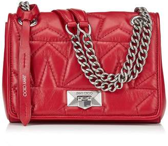 Jimmy Choo HELIA SHOULDER BAG/S Red Star Matelasse Nappa Shoulder Bag with Silver Chain Strap