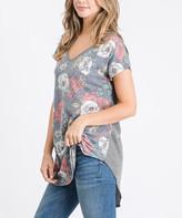 Cool Melon Women's Tunics Charcoal - Charcoal Floral & Gray V-Neck Tunic - Women & Plus