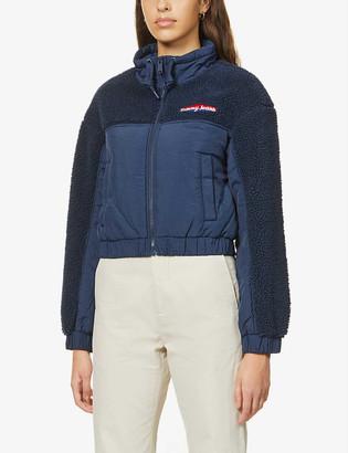 Tommy Jeans Branded high-neck fleece jacket