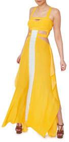 Aya Silk Citrine Silk Printed Cutout Dress