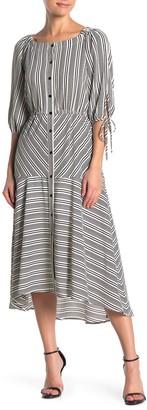 Gabby Skye 3/4 Sleeve Stripe Midi Dress