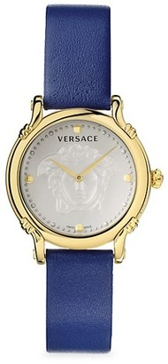 Versace Safety Pin Yellow Goldplated Leather Strap Watch