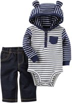 Carter's Baby Boy 3D Ear Hooded Striped Bodysuit & Faux-Denim Pants Set