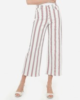Express High Waisted Striped Button Fly Cropped Wide Leg Jeans