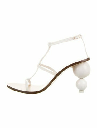 Cult Gaia Leather T-Strap Sandals White