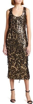 Dolce & Gabbana Leopard-Print Fringe Embellished Midi Dress