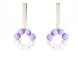 Soli & Sun The Carrie Hand-Crafted Statement Earrings - Lilac & White