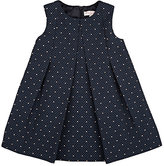 Lili Gaufrette Heart-Woven Pleated Textured Dress-NAVY