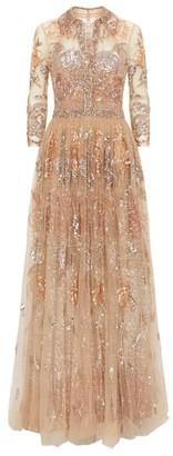 Badgley Mischka Tulle Sequin Gown