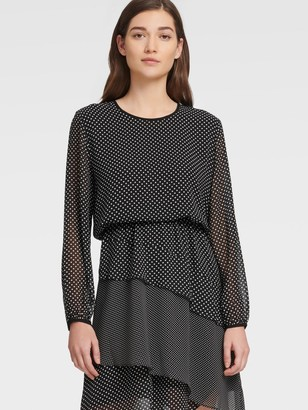 DKNY Women's Long Sleeve Dress With Layered Skirt - Black French Vanilla Comb - Size XX-Small