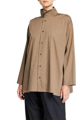 eskandar Slim A-Line Two-Collar Shirt with Bib