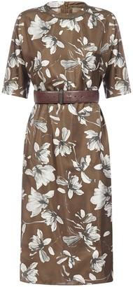 Brunello Cucinelli Floral Belted Midi Dress
