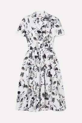 Jason Wu Collection - Pleated Floral-print Cotton-poplin Dress - White