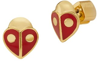 Kate Spade Ladybug Enamel Heart Stud Earrings