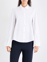 Clu Pleated-back cotton-poplin and satin shirt