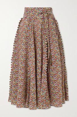 Horror Vacui James Scalloped Printed Cotton-poplin Midi Skirt - Red
