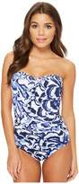 Tommy Bahama Pansy Petals Bandeau One-Piece Swimsuit Women's Swimsuits One Piece