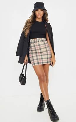 PrettyLittleThing Navy Check Belted Mini Skirt