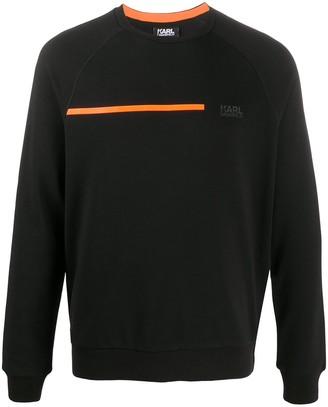 Karl Lagerfeld Paris Contrasting Stripe Rib-Trimmed Sweatshirt