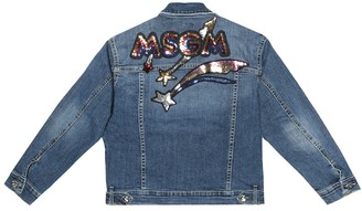 MSGM Kids Sequin-embellished denim jacket