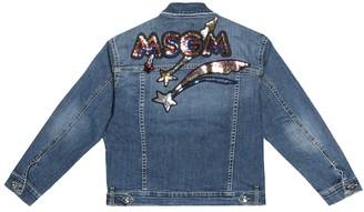 Msgm Kids Sequin-embellished denim jacket