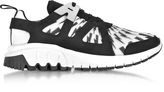 Neil Barrett Molecular Black Neoprene and White Printed Nylon Runner Sneakers