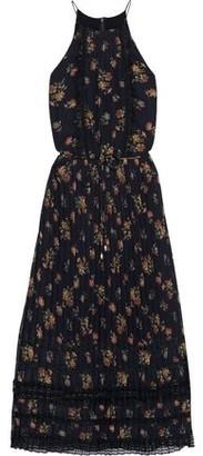 Zimmermann Pleated Lace-trimmed Floral-print Chiffon Midi Dress