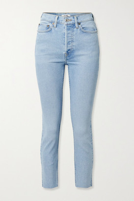 RE/DONE 90s Cropped Frayed High-rise Skinny Jeans - Light denim