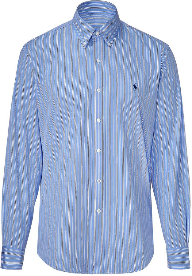 Ralph Lauren Blue and royal stripe poplin custom fit shirt