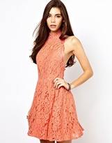 Asos Skater Dress In Lace With High Neck - Coral
