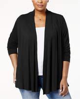 Karen Scott Plus Size Cascade-Front Cardigan, Created for Macy's