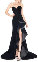 Mac Duggal 6-Week Shipping Lead Time Strapless Sweetheart Velvet Ruffle Gown with Train & Slit