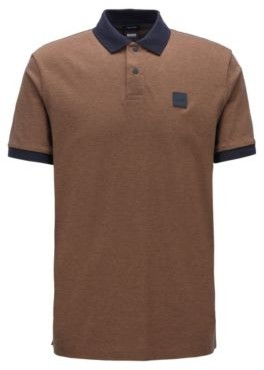 BOSS Cotton-pique polo shirt with press-stud placket