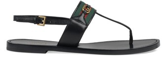 Gucci Leather Thong Sandals with Web