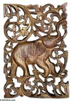 Teak relief panel, 'Regal Red Elephant'