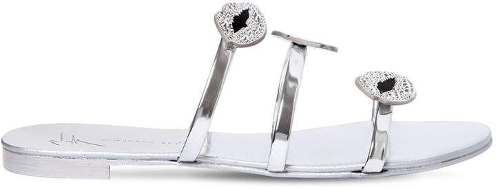 Giuseppe Zanotti Design 20mm Crystals Mirror Leather Sandals