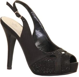 Little Mistress Footwear Paper Dolls Footwear Black Embellished Sling Back Peep Toe Heel