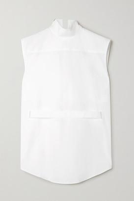 Coperni Asymmetric Belted Cutout Cotton-poplin Shirt - White