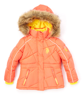 U.S. Polo Assn. Hot Coral Quilted Puffer Coat - Girls